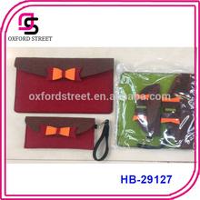 Fashion dat envelope handbag bow cute wool felt hobo bag for girls