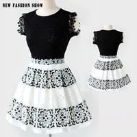 Summer Dress 2014 South Korea New Black White Stitching Women Dress O-Neck Sleeveless Fashion Elegant Lace Party Dresses 5019