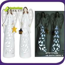 2014 led light polyresin angel figurine