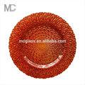 grossista casamento vermelho cor de pavão design carregador placa de vidro underplate