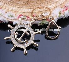 Fashion Wholesale Enamel Gemstone Crystal Rhinestone Nautical Wheel and Sea Anchor Keychain ,Key Ring ,Key Chain SY15453