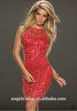 Sexy Red Mini Dress Club Wear A2607-2