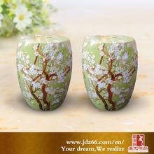 Fresh green color works of art ceramic stool furniture