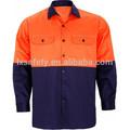 Dos- tono de algodón taladro de camisas de trabajo