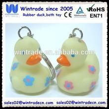 Rubber flower duck with keychain/plastic keychain gift