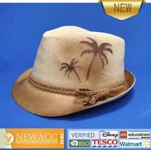 man's holiday print straw fedora hats