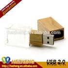 Luxurious Wedding Present USB Thumb Drive Wooden Crystal USB Flash Memory 2.0