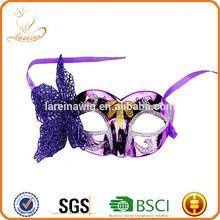 Fashion new design cheap price half face purple butterfly carnival fancy ball fox masquerade mask