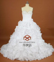 HMY-W004 Real Images Alibaba Suzhou Sweetheart 30D Hand-made Flowers Long Train Beaded Bridal Ball Gowns
