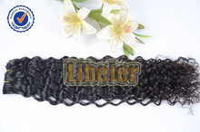 Wholesale 20inch #1b Curly Hair Extension Multicolor Hair Weft 100% Brazilian Human Hair
