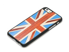 "UK Flag Wood Leather Skin Hard Case For iPhone 4.7"""