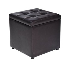 """101726 Home home use Ottoman/16"""" Faux Leather Storage Ottoman / Footstool - Black"""
