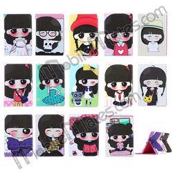 Xiaoxi Cartoon Girl Cute Leather Flip Case for iPad Mini, Smart Cover for iPad Mini 3