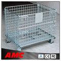 De tamaño personalizado plegable jaula de almacenamiento/contenedores de alambre con ruedas