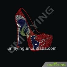 Manufacturers Wholesale high heeled shoe with texan team logo rhinestone motif design for women underwear ,texans custom t-shirt