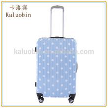 popular high glossy shiny light blue hard shell travel pc Polka Dot girls luggage