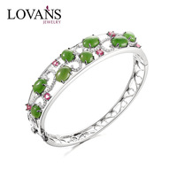 Wholesale Stering Silver Jewelry Silver Natural Stone Bangle with Jade Tourmaline LWB0001