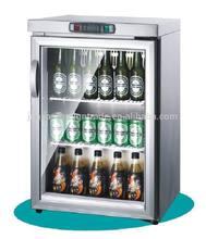 TG-90 single temperature type OEM bar equipment stainless steel mobile mini refrigerator glass door for beer