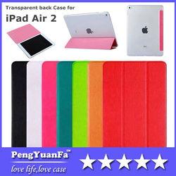 New Arrival Slim Flip Smart Case Cover transparent Back Hard Case For Apple iPad Air 2