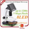 stereo digital microscope 1000X 5MP full hd 3.5 LCD adjustable brightness microscope with 8G Memory card - jessica