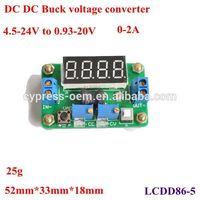 Newest DD DC Buck Module constant crrent,adjustable and regulating voltage ammeter and voltmeter 0.93-20V output