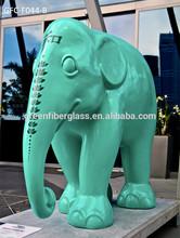 Large Garden Fiberglass Animal painted sculptures Pure colour Elephant Statues