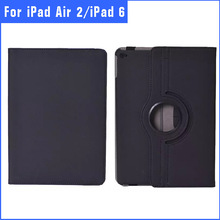 360 Degree rotation stand leather case cover For ipad 6 ipad air 2