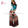 Stampato boho design etnico delle donne lungo leggings pantaloni casual, elastico in vita e pantaloni gamba larga