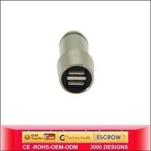 SU Wholesale New Design without spring USB Car Charger C2 dual output smart match car cigarette lighter voltage meter
