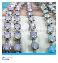 Hotsale nickel color rose opal garment chain trim