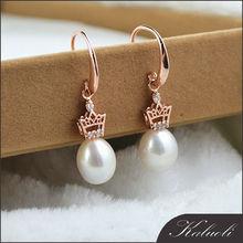 Bijoux argent 925 crown AAA freshwater pearl drop earrings for girl