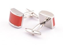 Red Stone Square Shell Jewelry Cufflinks