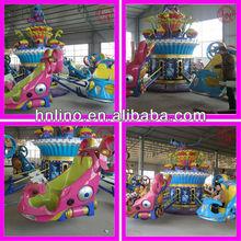 Supper cool amusement park rotarting blue spring ride