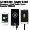 10000mAh Slim Metal Mobile Power Bank for iPhone iPad Smartphone Made in China - Black