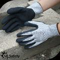 Srsafety 13g malha forro revestido corte látex luvas de trabalho/corte resistentes luvas mão