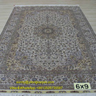 6x9ft Classic Turkish Design Man Made Qum Hand Knotted Rug