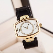 Fashion black leather gold plated face wrist watch 2015 new hot products