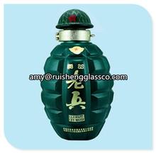 Factory price 500ml green glass grenade-shaped bottles