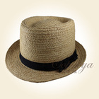 2014 New design ,fashion paper straw top hat, grosgrain tape with bow
