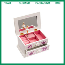 Girls White Beautiful Ballet Dance Wooden Music Jewellery Box