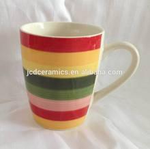 rainbow color band stoneware handpainted coffee mug