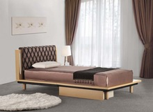 Latest style elegant and cozy leather bed,wooden frame leather bed with drawer