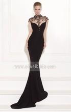 Fashion style mermaid floor length black crepe beaded short sleeve sexy hijab evening dress