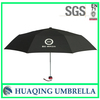 Cheap 3 Fold Black Promotional umbrella with Logo