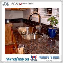 Prefab Tan brown man made kitchen granite countertop