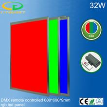 Intelligent DMX protocol controlled 7 colors & 25 mode adjustable 32W RGB led panel light 600x600mm