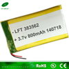 383562 3.7v 800mah lithium polymer rechargeable li-ion battery for digital photo frame