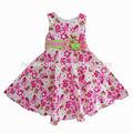 Ropa del bebé del niño clásico vestido de la flor con la impresión del partido del vestido