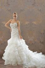 Strapless Sweetheart Mermaid Chapel Train Beaded Tulle Wedding Dress/Bridal Gown[RBT00532T]