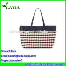 Handbag fabric print ladies grid pattern large canvas cloth shopping bags